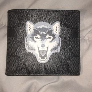Men's Coach Double Billfold Wallet Wolf 🐺 Motif